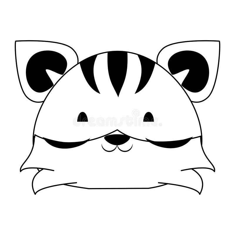 ?liczna tygrysia zwierz?ca kresk?wka w czarny i bia?y royalty ilustracja