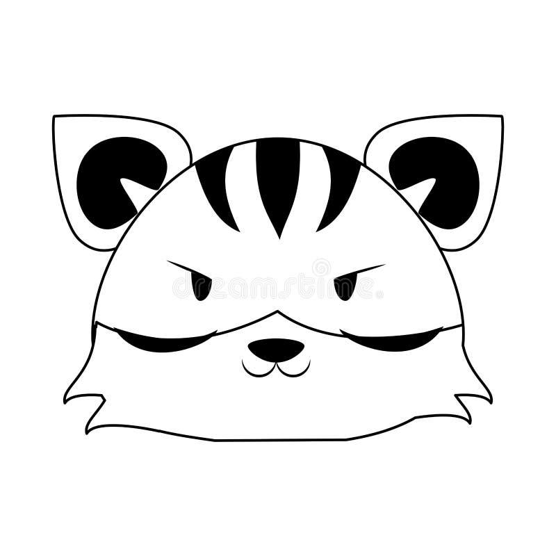 ?liczna tygrysia zwierz?ca kresk?wka w czarny i bia?y ilustracji