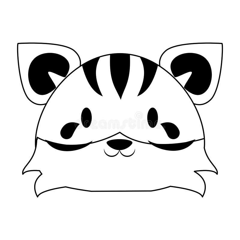 ?liczna tygrysia zwierz?ca kresk?wka w czarny i bia?y ilustracja wektor