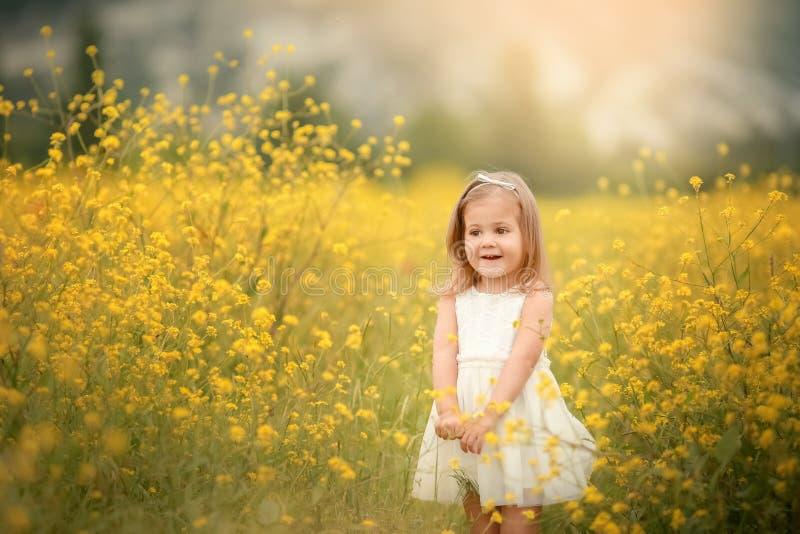 ?liczna u?miechni?ta ma?a dziewczynka z kwiatu wiankiem na ??ce przy gospodarstwem rolnym Portret uroczy ma?y dzieciak outdoors obraz royalty free