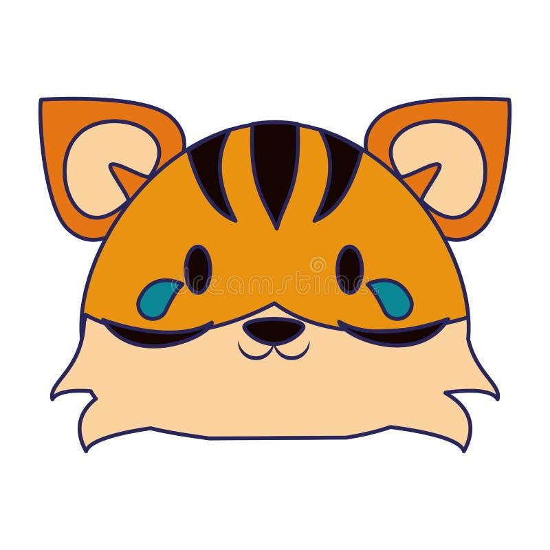 ?liczne tygrysie zwierz?ce kresk?wek niebieskie linie ilustracja wektor
