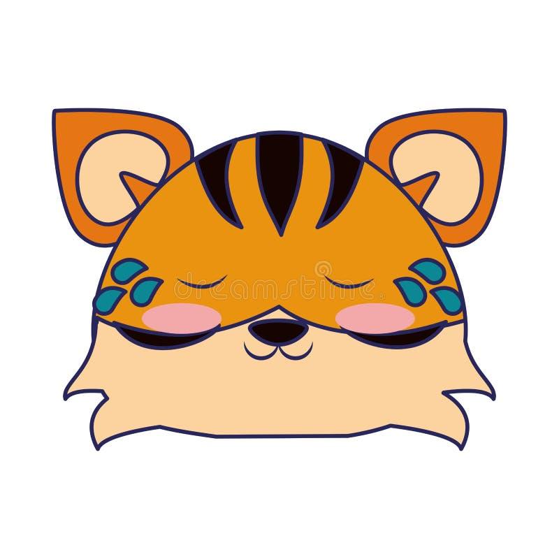 ?liczne tygrysie zwierz?ce kresk?wek niebieskie linie royalty ilustracja