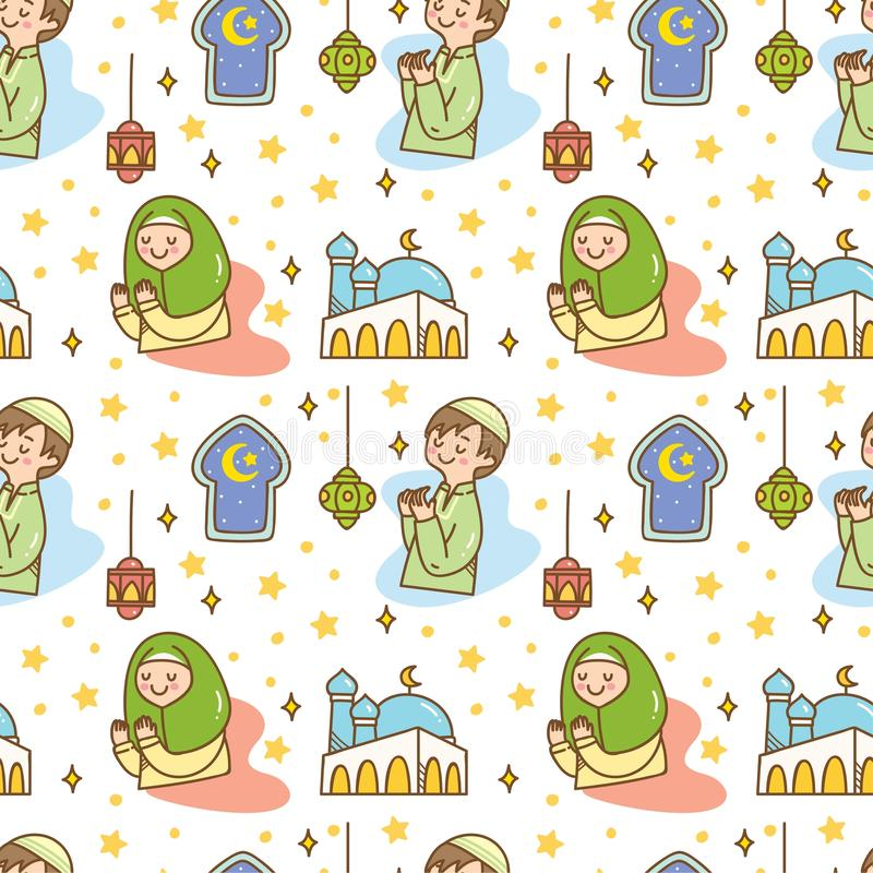 ?licznego Ramadan doodle bezszwowy wz?r royalty ilustracja