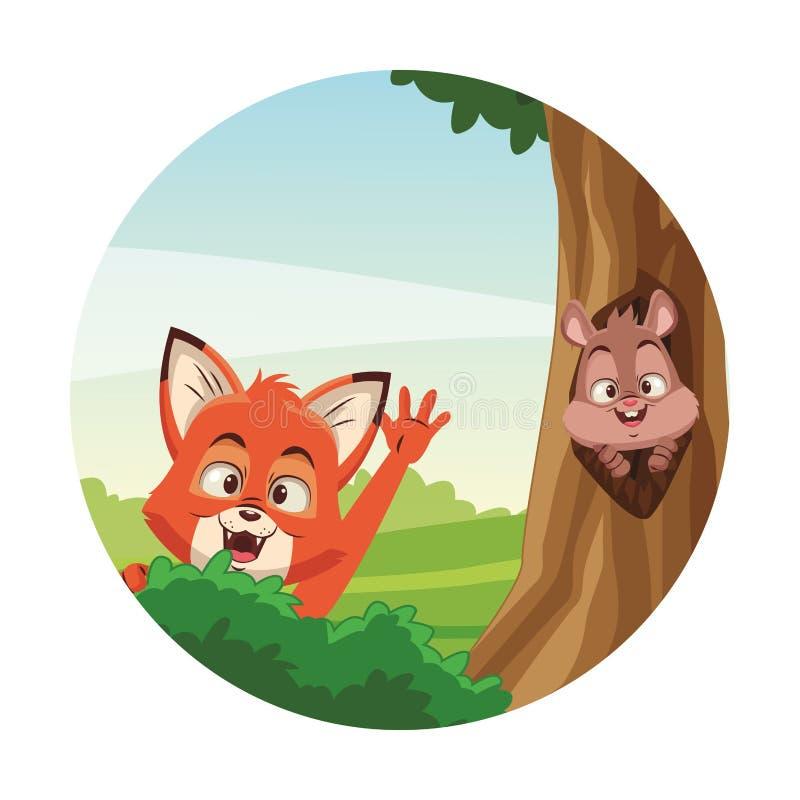 ?liczni zwierz?ta przy lasem ilustracja wektor