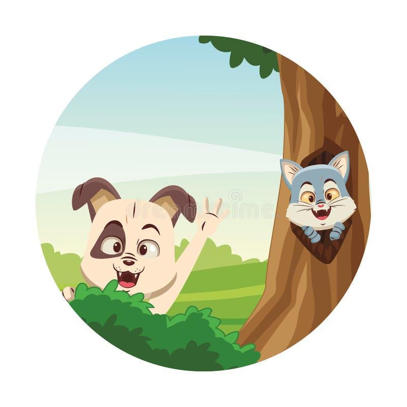 ?liczni zwierz?ta przy lasem royalty ilustracja