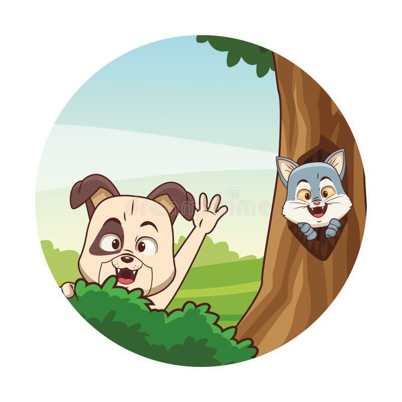 ?liczni zwierz?ta przy lasem ilustracji