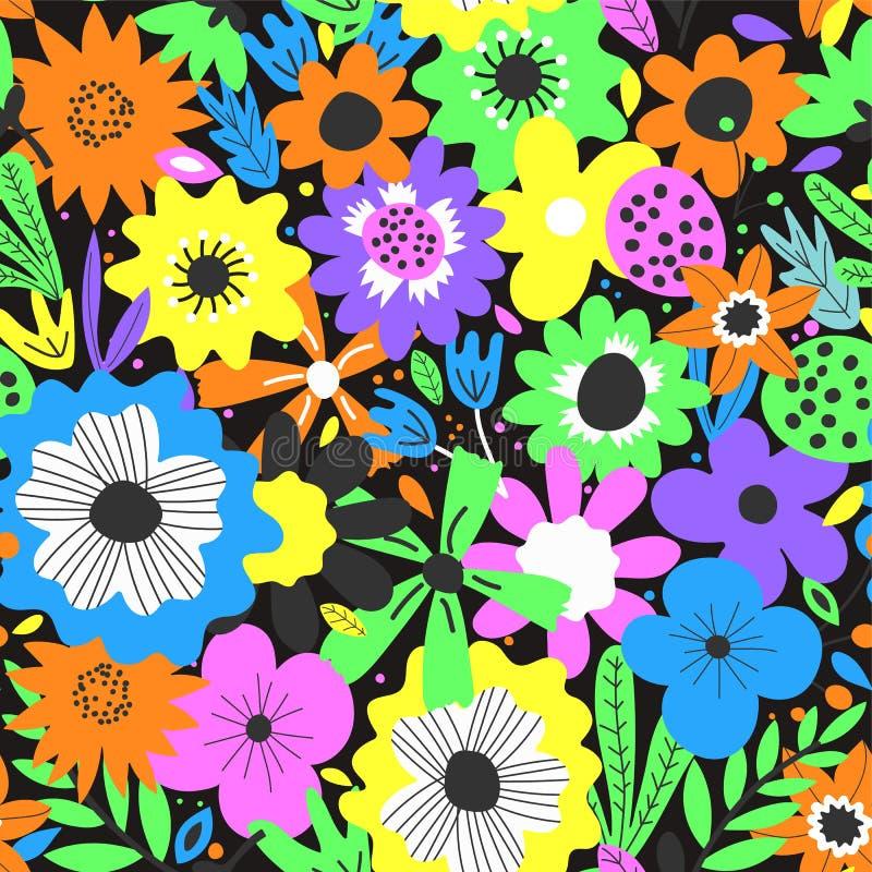?liczny bezszwowy wz?r z kwiatami i li??mi ilustracji