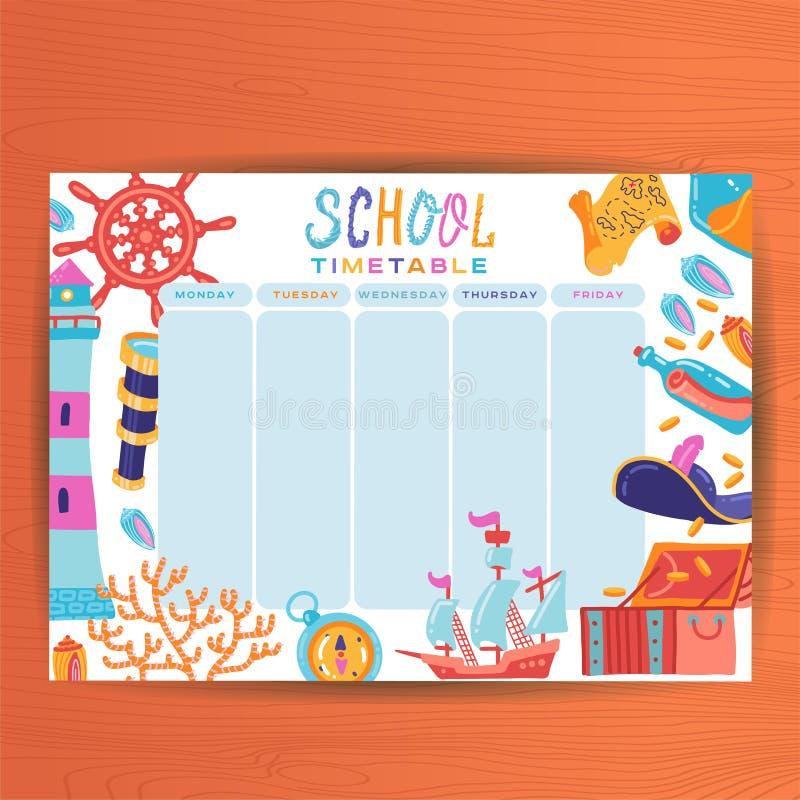 ?liczny Kalendarzowy Tygodniowy planisty szablon Morska temat ilustracja Organizator i rozk?ad Rozkład zajęć planswith Lekcyjna p royalty ilustracja