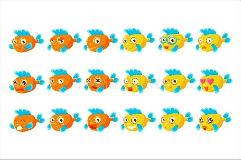 ?liczny Pomara?czowy akwarium ryba posta? z kresk?wki - set R??ni wyrazy twarzy I emocje royalty ilustracja