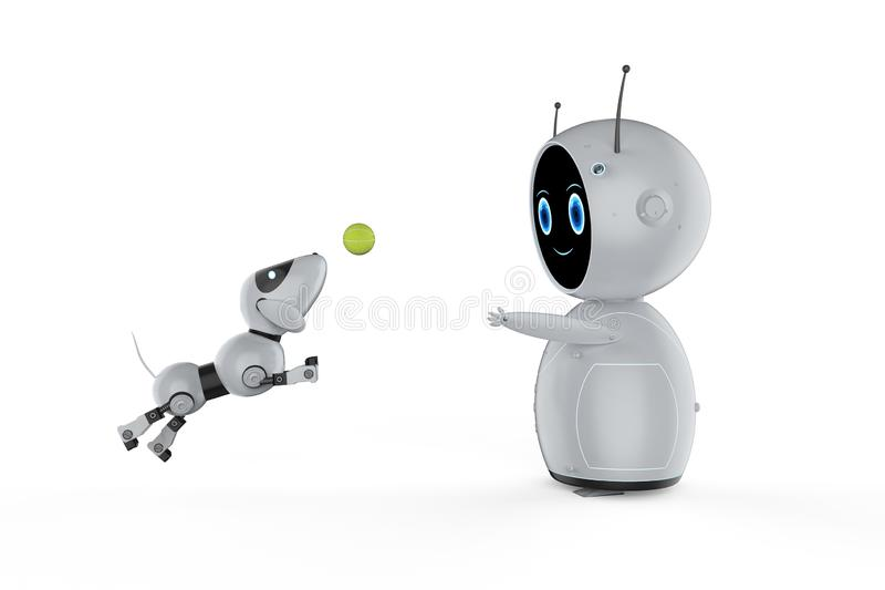 ?liczny robot z psim robotem ilustracji