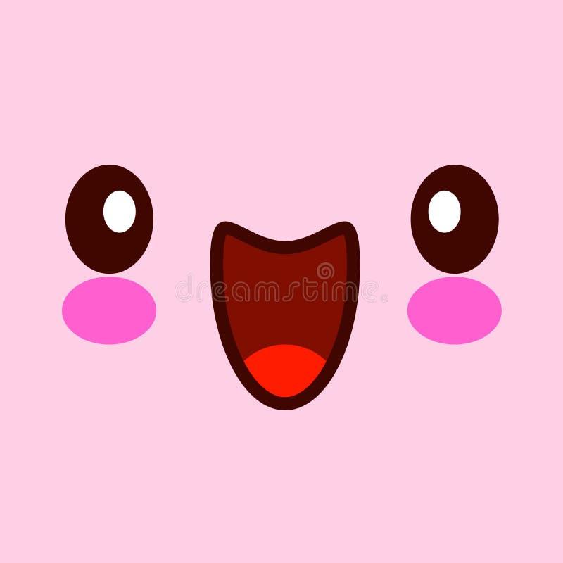 ?liczny twarzy ilustraci wektor Kawaii stawia czo?o z oczami odizolowywający na różowym tle EPS ilustracji