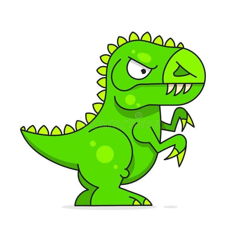 ?liczny zielony dinosaur odizolowywaj?cy na bia?ym tle posta? z kresk?wki ?mieszne royalty ilustracja