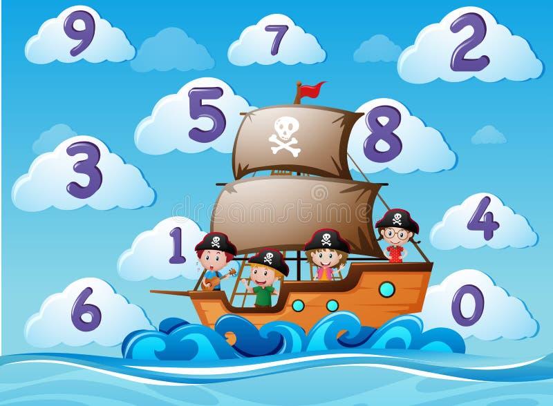 Liczyć liczby z dziećmi na statku ilustracja wektor