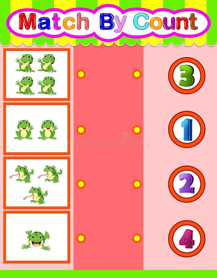 Liczy żaby kreskówkę i dopasowywa, matematyki edukacyjna gra dla dzieci ilustracji