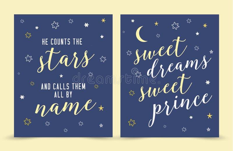 Liczy gwiazdy i Dzwoni one imieniem; słodkich sen cukierki książe! royalty ilustracja