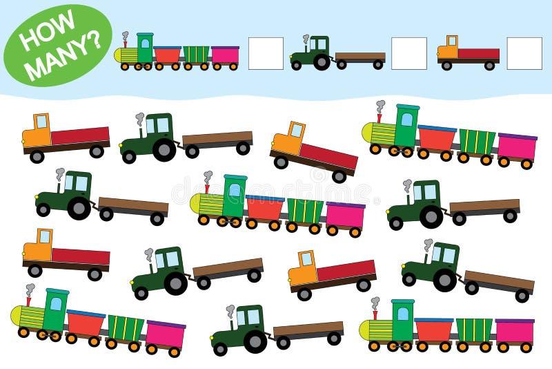 Liczy ile przedmiotów transport Edukacyjna gra dla Preschool dzieci royalty ilustracja