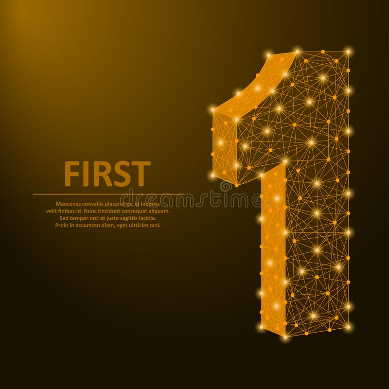Liczy jeden zrobił punktami i liniami, pierwszy znak z złotą poligonalną wireframe siatką wektor royalty ilustracja
