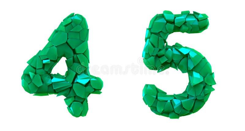 Liczy set 4, 5 zrobił 3d odpłaca się plastikowych czerepy zielony kolor ilustracja wektor