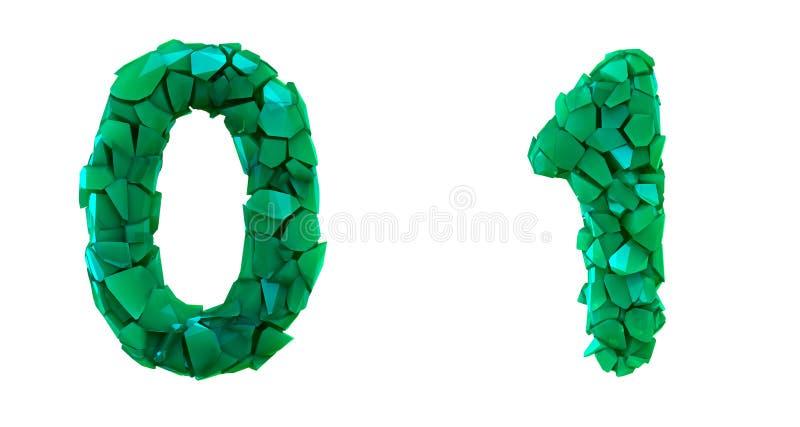 Liczy set (0), 1 zrobił 3d odpłaca się plastikowych czerepy zielony kolor ilustracji