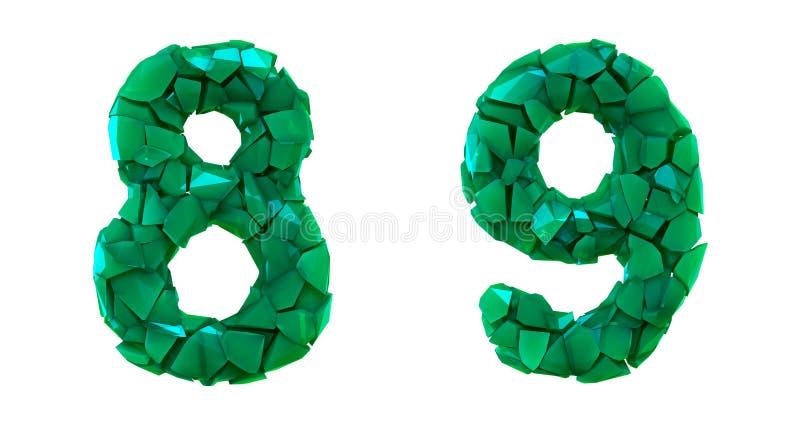 Liczy set 8, 9 zrobił 3d odpłaca się plastikowych czerepy zielony kolor ilustracja wektor