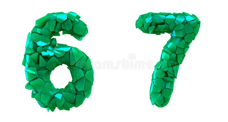Liczy set 6, 7 zrobił 3d odpłaca się plastikowych czerepy zielony kolor ilustracja wektor