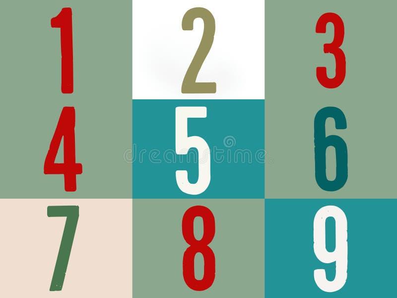 Liczy w multicolor na kolorowym tle jeden dwa trzy cztery pięć sześć siedem osiem dziewięć ilustracja wektor