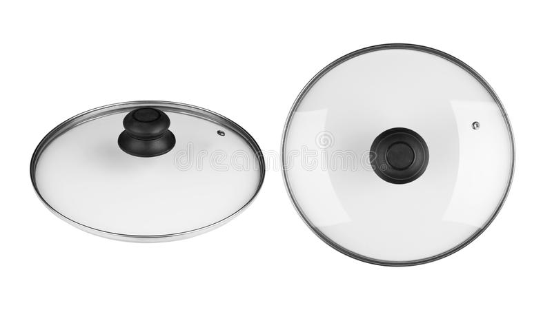 Lid from a pan. Glass lid from a pan isolated on white background royalty free stock images