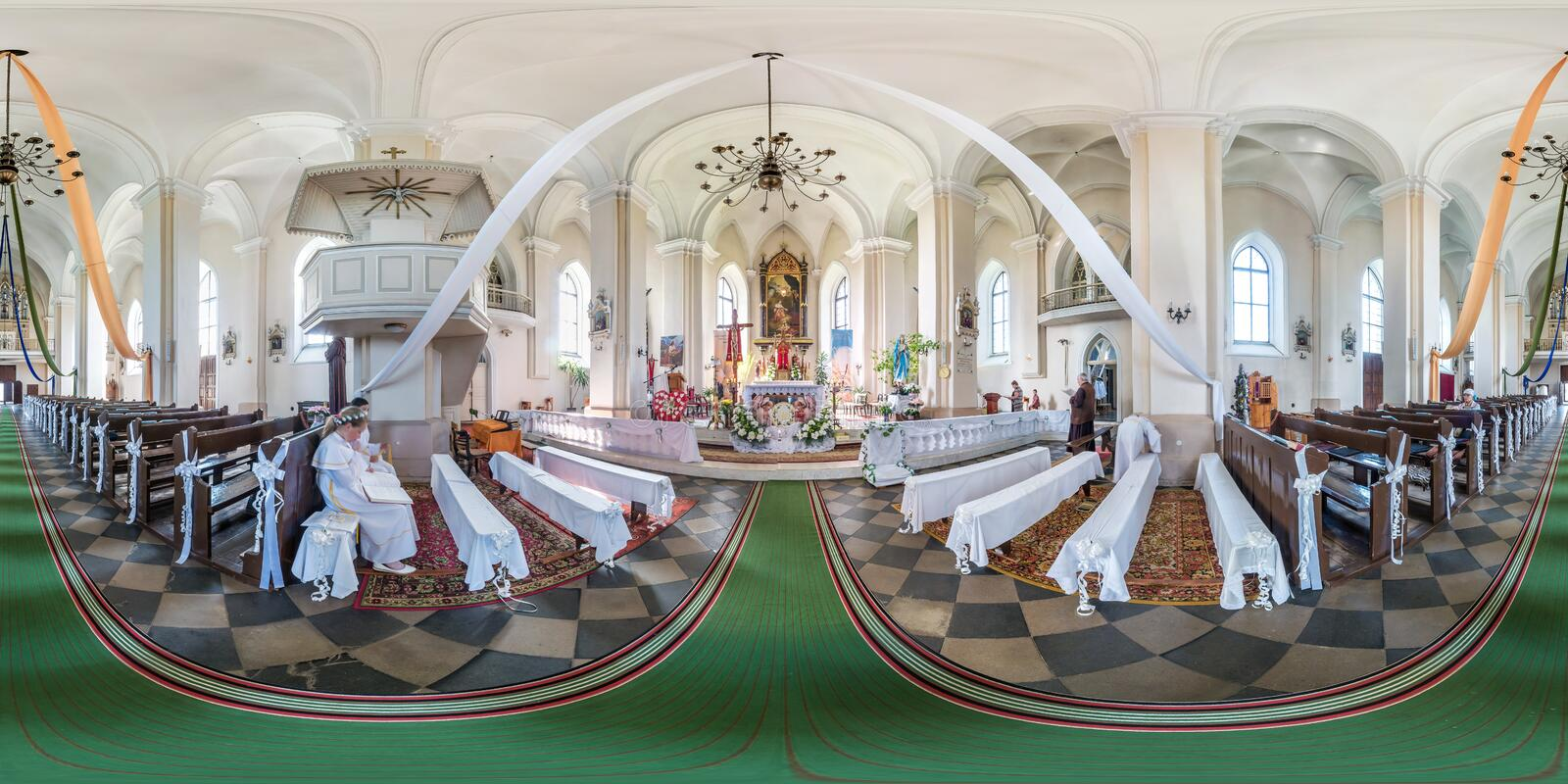 LIDA, BELARUS - JUNE, 2019: full seamless spherical panorama 360 degrees angle view inside of interior gothic catholic church in stock photos