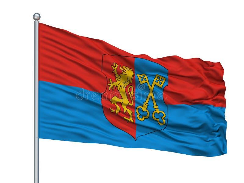 Lida City Flag On Flagpole, Bielorrusia, aislado en el fondo blanco stock de ilustración