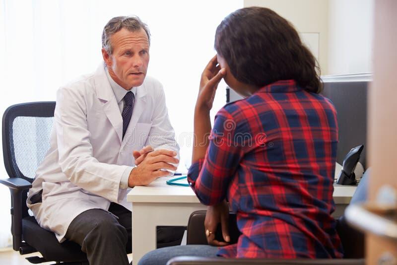 Lidande för doktor Treating Female Patient med fördjupning royaltyfri fotografi