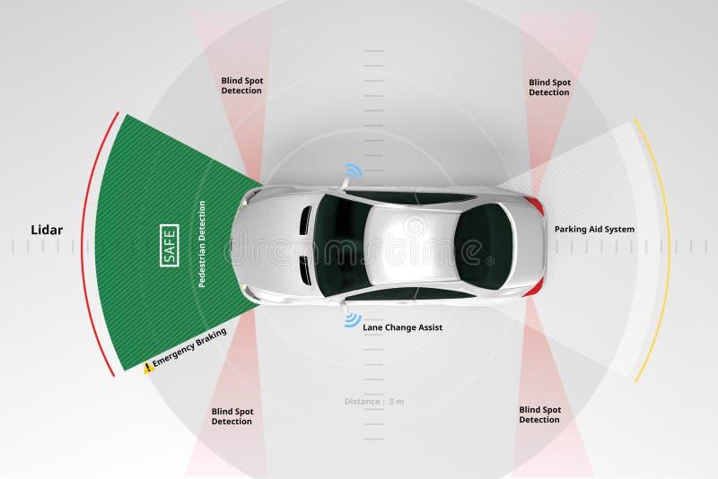 Lidar and Safety sensors use, 3d rendering. Autonomous self-driving electric car showing Lidar and Safety sensors use, 3d rendering royalty free stock photo