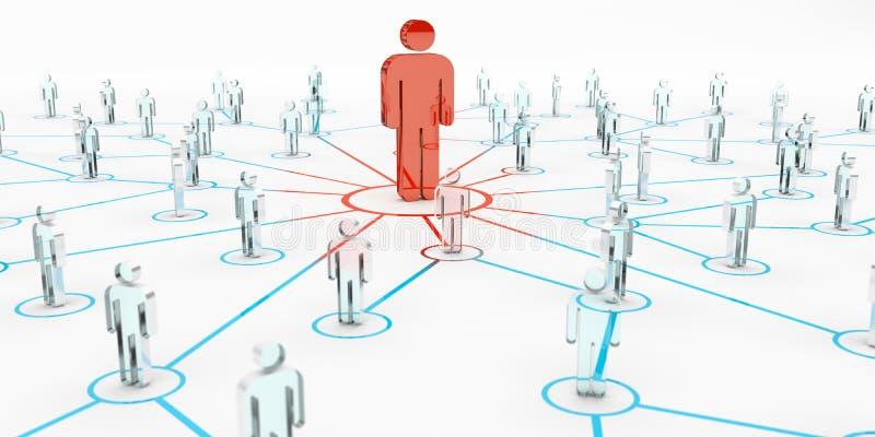 Lider łączy grupy ludzi 3D rendering ilustracji