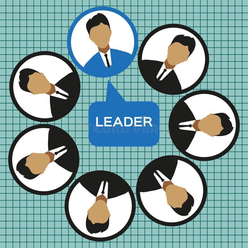 Lider biznesu drużynowy projekt, mieszkanie styl ilustracja wektor