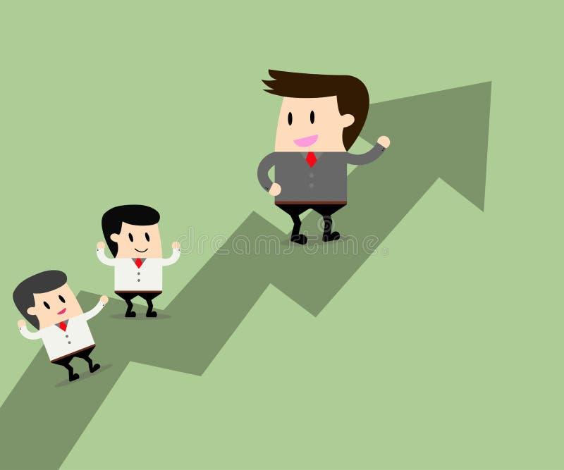 Lider biznesu i praca zespołowa iść wpólnie royalty ilustracja