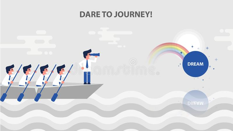 Lider biznesu stojaka łęk łódź ilustracji