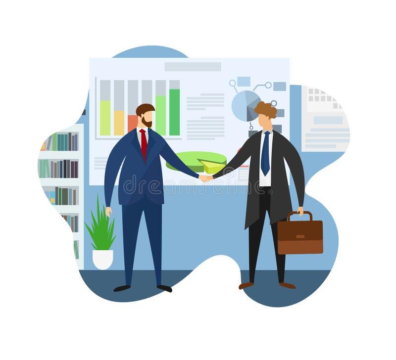 Lider firmy powitania partner dla Spotykać ilustracja wektor