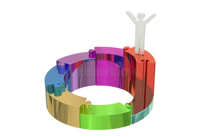 Lider i sukcesu pojęcie, 3D rendering ilustracja wektor