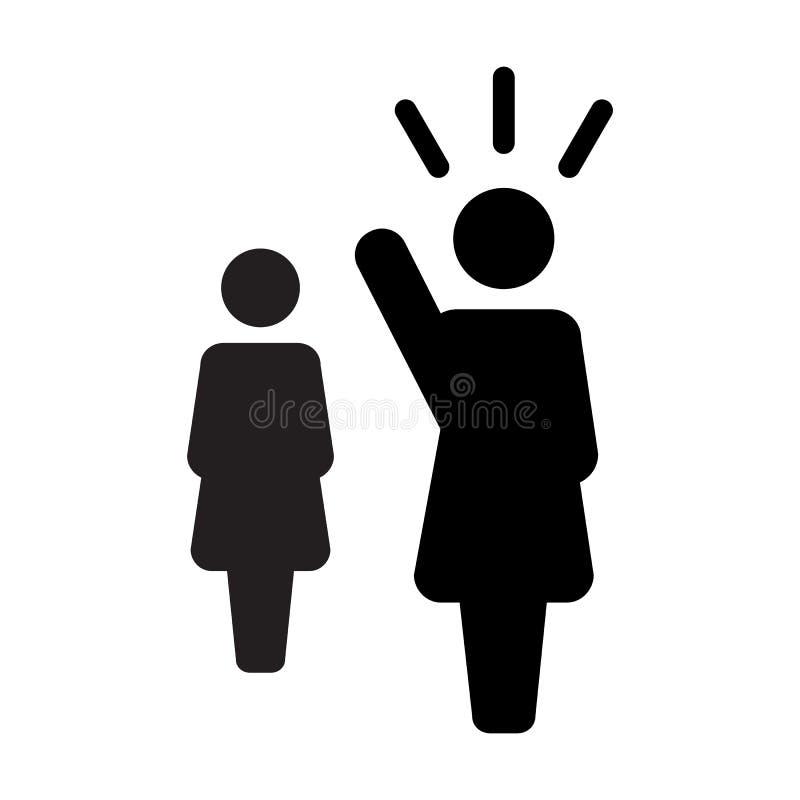 Lider ikony jawnego mówcy osoby wektorowy żeński symbol dla przywódctwo z nastroszoną ręką w glifu piktogramie ilustracji