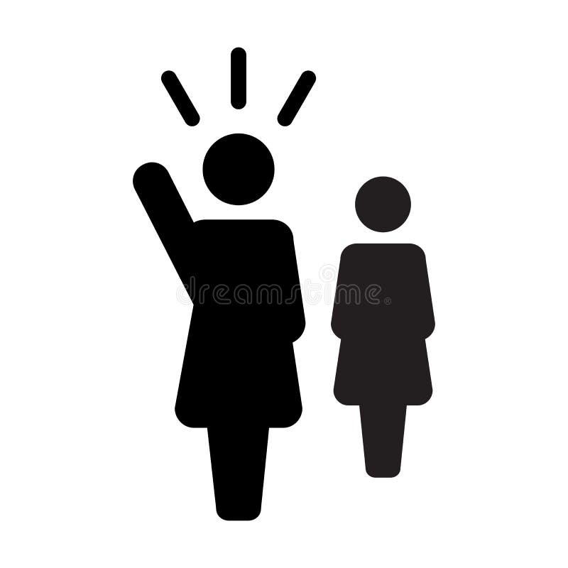 Lider ikony jawnego mówcy osoby wektorowy żeński symbol dla przywódctwo z nastroszoną ręką w glifu piktogramie ilustracja wektor