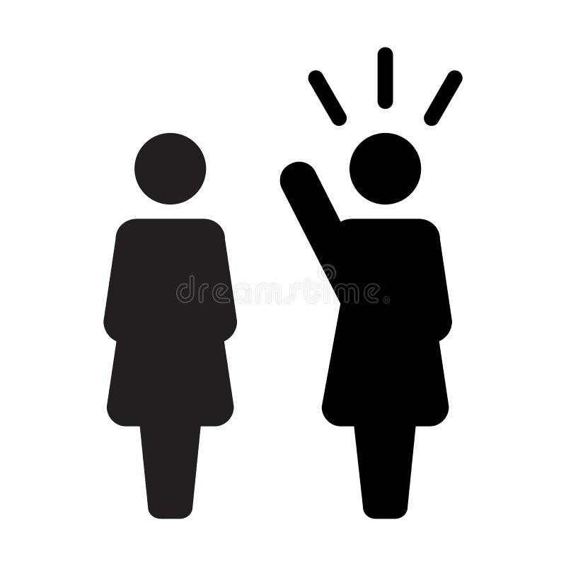 Lider ikony jawnego mówcy osoby wektorowy żeński symbol dla przywódctwo z nastroszoną ręką w glifu piktogramie royalty ilustracja