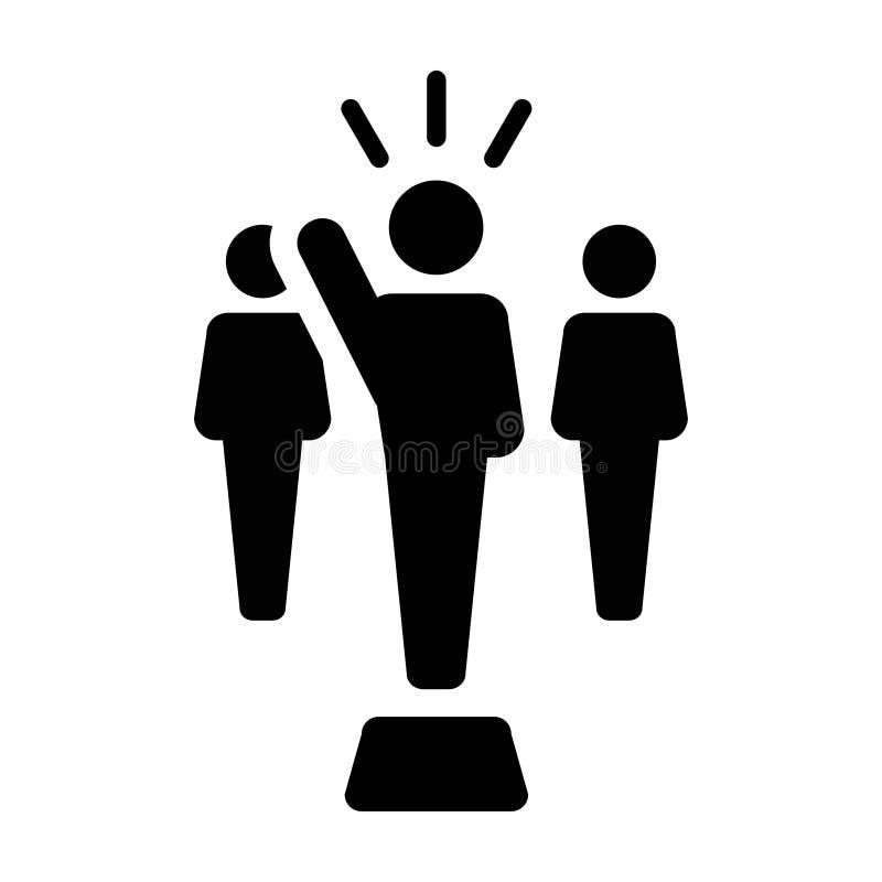 Lider ikony jawnego mówcy osoby wektorowy męski symbol dla przywódctwo royalty ilustracja