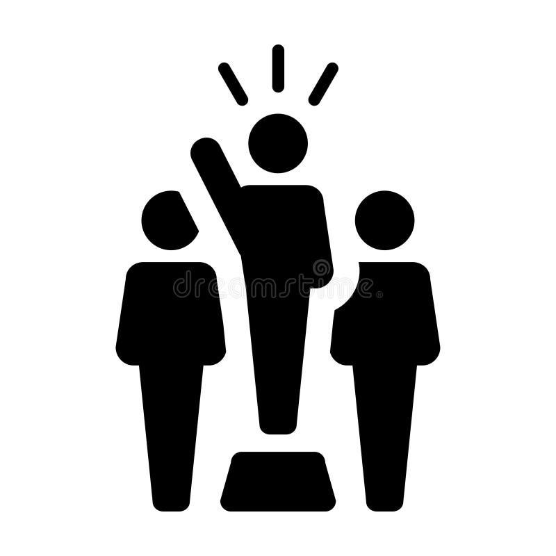 Lider ikony jawnego mówcy osoby wektorowy męski symbol dla przywódctwo ilustracji