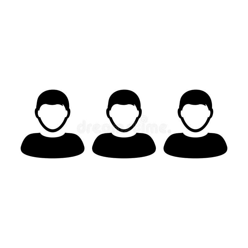 Lider ikony samiec wektorowa grupa persons symbolu avatar dla zarządzanie przedsiębiorstwem drużyny w płaskim koloru glifu piktog royalty ilustracja