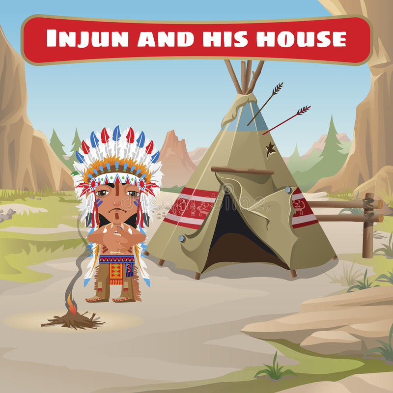 Lider indianie z tepee ilustracji