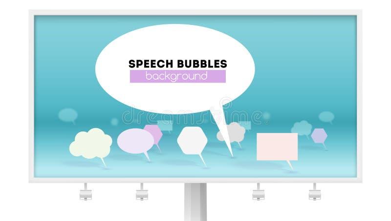 Lider jawna opinia odosobniony billboardu biel Symbol dyskusja, abstrakcjonistyczna mowa gulgocze, 3D wektor ilustracji