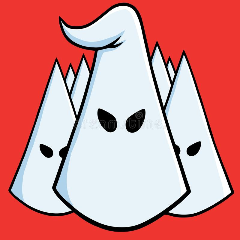 Lider Ku Klux Klan chłopiec kreskówka zawodzący ilustracyjny mały wektor Sierpień 17, 2017