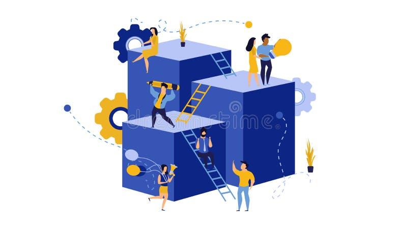 Lider pracowników budujący wirtualną firmę na ilustracji akcji Sukces w karierze: zwiększ przydział wektorów Przyszłość royalty ilustracja
