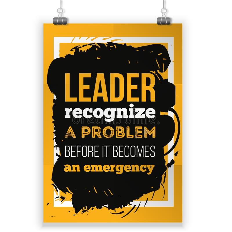 Lider rozpoznaje problem Inspiracyjna motywacyjna wycena o przywódctwo Kreatywnie plakat dla ściany ilustracji
