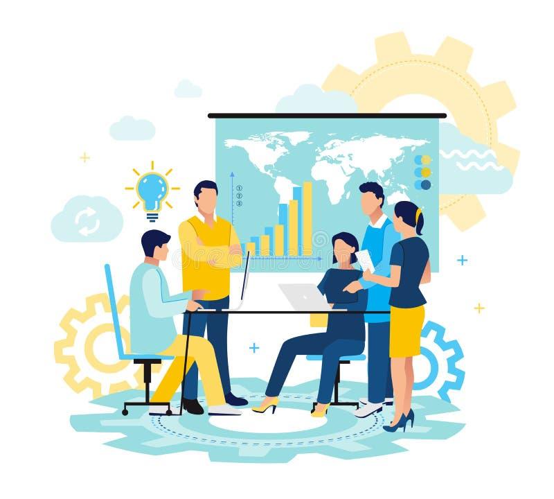 Lider zespołu są siedzący przy biurkiem opowiada i patrzeje w, komputer, pastylkę i telephon, Przyrostowe sprzedaże i umiejętnośc royalty ilustracja