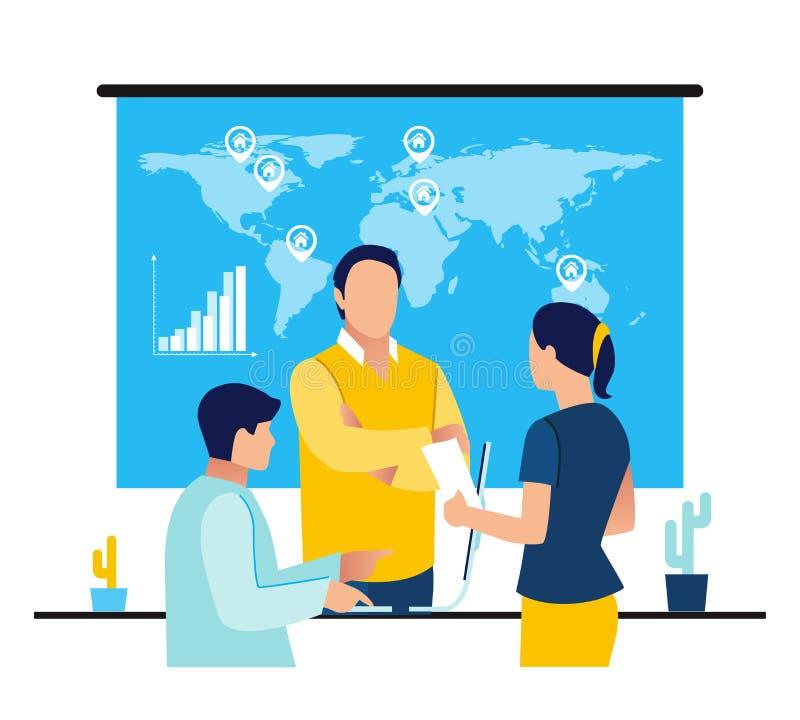 Lider zespołu są siedzący przy biurkiem opowiada i patrzeje w, komputer, pastylkę i telephon z światową mapą, przyrostowe sprzeda ilustracja wektor